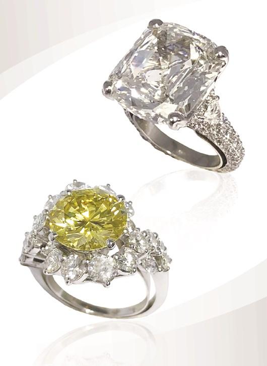 10.56 carat cushion cut diamond ring and 4.05 carat Fancy Yellow Intense diamond certified GIA naturel color ring