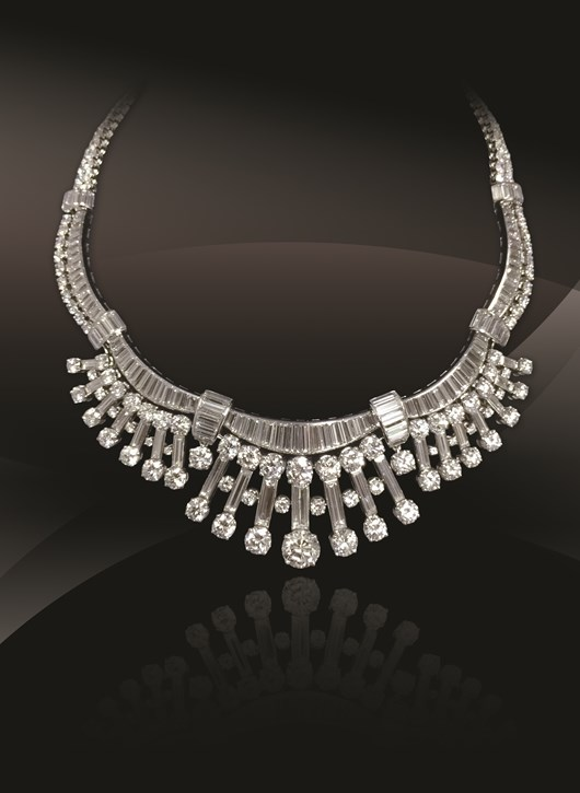 Diamond Platinum Gold Necklace     French, Circa1950