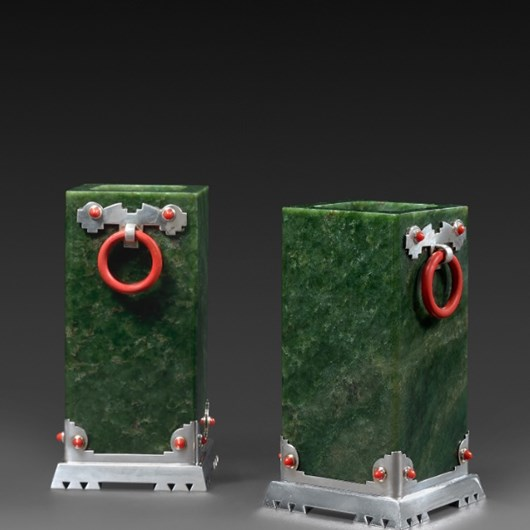 Pair of jade and coral vases, silver mounted, Art Deco period