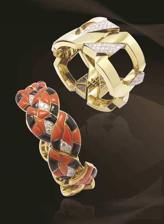 "David Webb Diamond Gold ""JUNO"" Bracelet and Bulgari Onyx Coral Diamond Gold Link Bracelet"