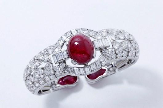 French Art Deco Certified Natural Burmese Ruby Diamond Platinum Bracelet