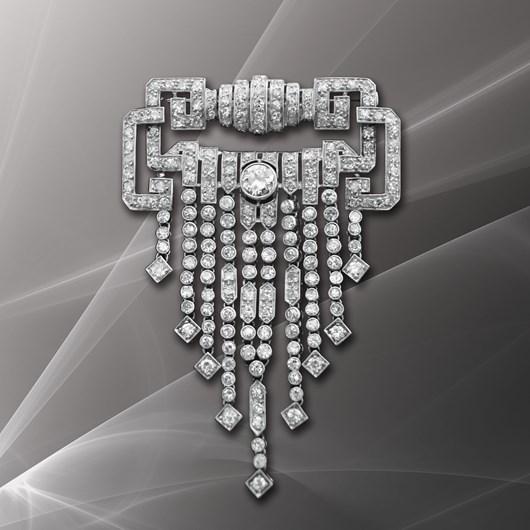 French Art Deco Diamond Platinum Waterfall Brooch