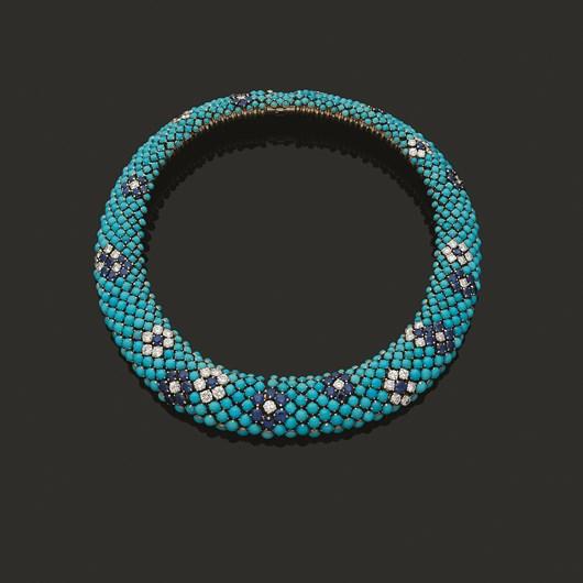 Turquoises, sapphires and diamonds Necklace, Van Cleef & Arpels, circa 1960