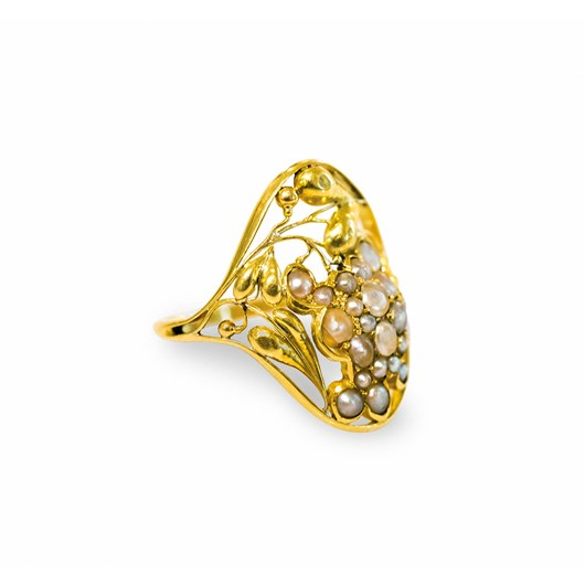 Unique gold and freshwater pearl ring, 1912