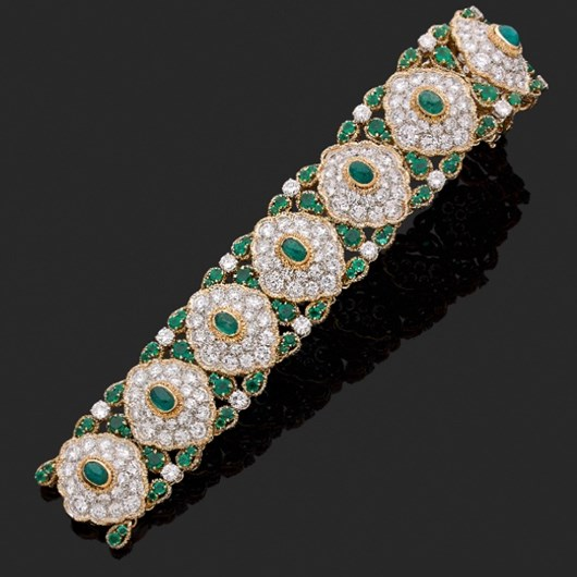 VAN CLEEF & ARPELS.  Emerald and diamond bracelet.