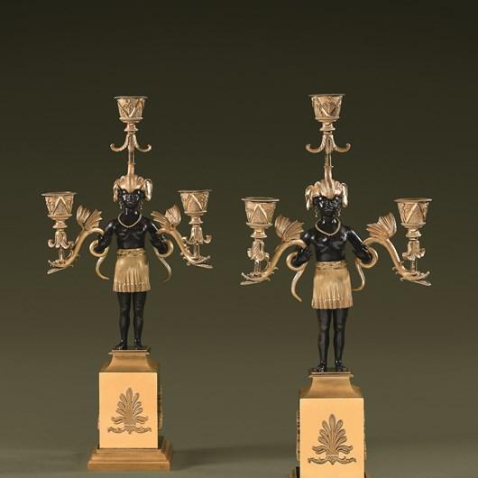Rare pair of Directoire candelabra by Jean-Simon DEVERBERIE.