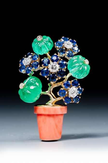 A gemset and diamond 'tutti frutti' brooch