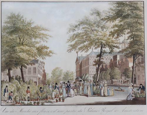 Vue du Marchè aux fleurs, & d'une partie du Palais Royal à Amsterdam (Bloemenmarkt te aan de NIeuwezijdsvoorburgwal)