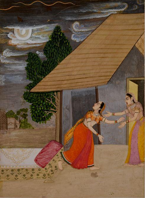 Miniature painting representing Madhumadhavi Ragini, a lady sheltering herself from a thunderstorm.