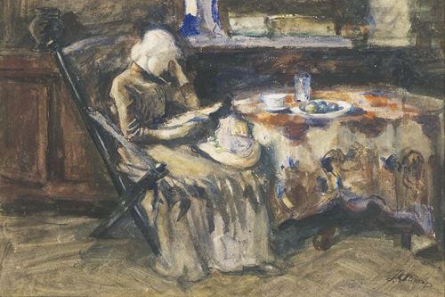 Annie Hall de vrouw van de schilder lezend