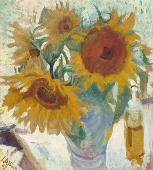 Zonnebloemen in een vaas,