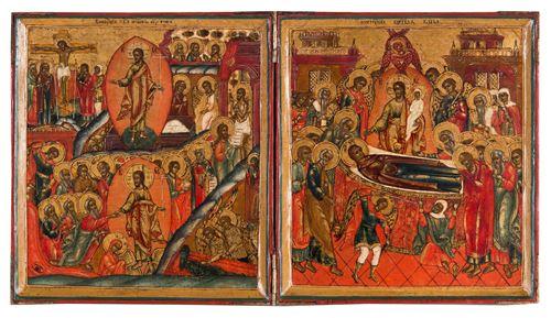 Tweeluik met Anastasis en Ontslapen van de Moeder Gods