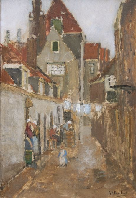 Alley with women and a playing child, Rotterdam