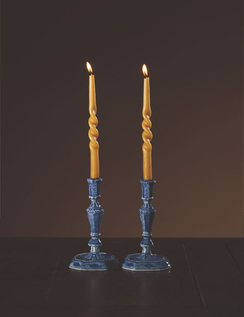 Pair of Blue and White Candlesticks