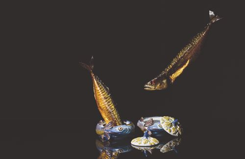 Pair of Polychrome Pike Tureens and Covers
