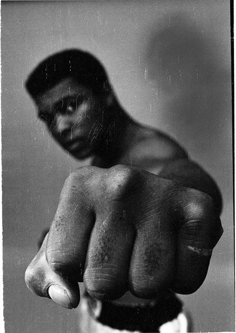 Ali showing off his left fist, Chicago, 1966