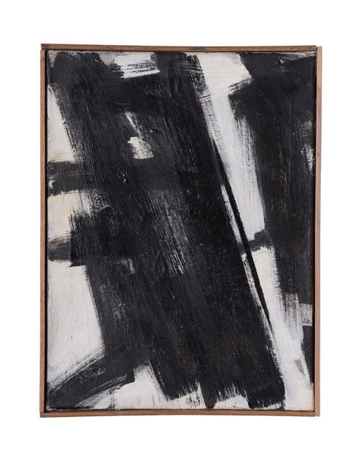 A black and white oil painting