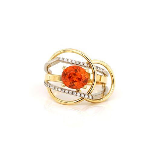 Gouden ring met spessartien en diamanten