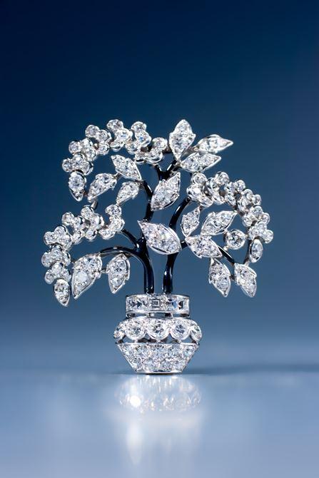 Unusual Art Deco diamond and enamel bonsai brooch by Marchak