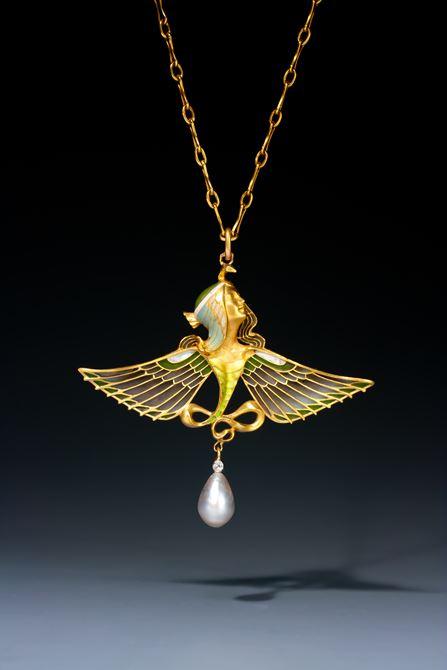 Rare Art Nouveau Egyptian revival pendant by L. Gautrait