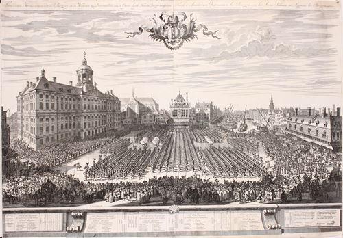 """Amsterdamse Kermis vertonende de Burgerij in de Wapenen"" (Amsterdam city guard on the Dam square)"