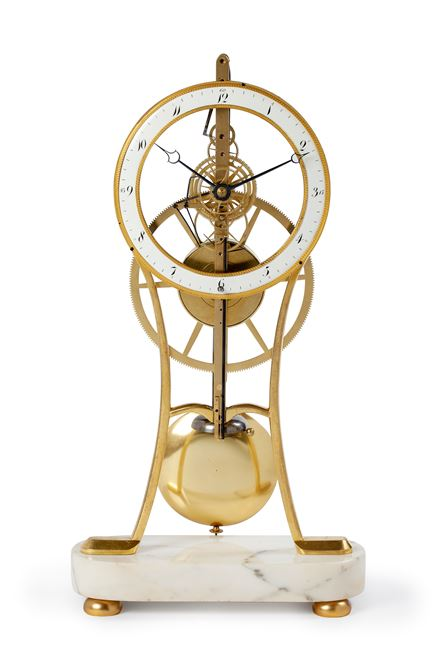 'KEYHOLE' SKELETON MANTEL CLOCK WITH REMONTOIR