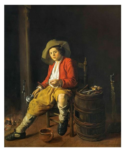 A Boy Holding a Tankard and Pipe