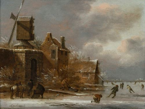 A Winter Landscape with Skaters on a Frozen River Outside a Village