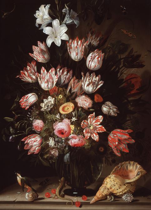 Flowers in a Glass Vase with a Kingfisher, Snail, Cherries, Lizard, Stag Beetle, Shells, Butterflies, Dragonfly, Bee, and other Insects on a Stone Ledge