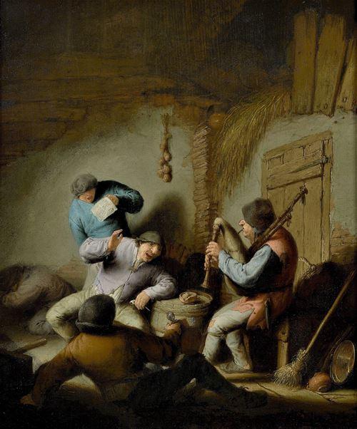 Barn Interior with Peasants making Music