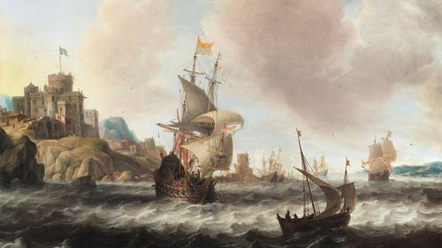 A Dutch Three-master and other Shipping off a Rocky Swedish Coast