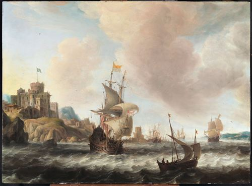 A Dutch Three-Master and other Ships off 't Sondt -  a Rocky Swedish Coast