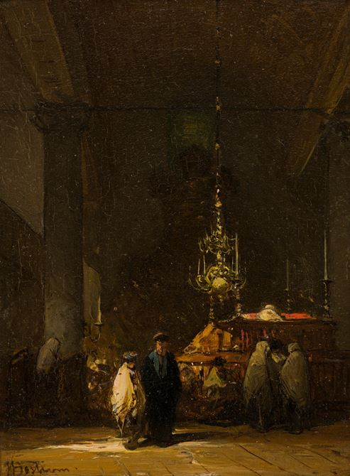 Interieur van de Portugese Synagoge in Amsterdam